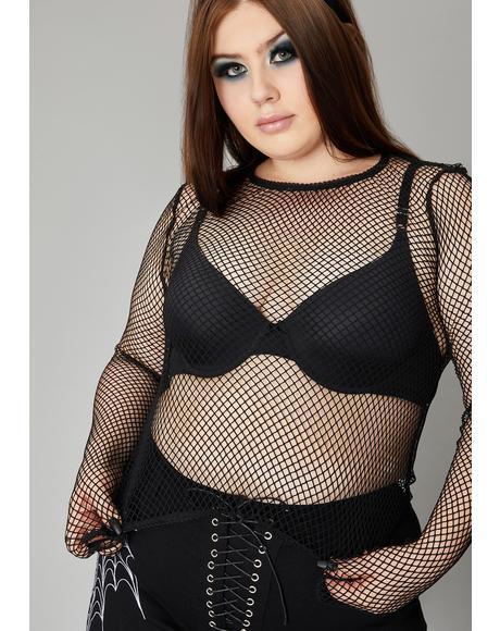 Ink Never Reverse The Curse Fishnet Top