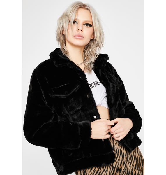 Ink How You Feel Faux Fur Jacket