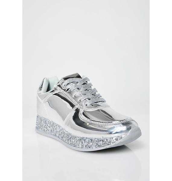 Chrome Walking On Glitter Platform Sneakers