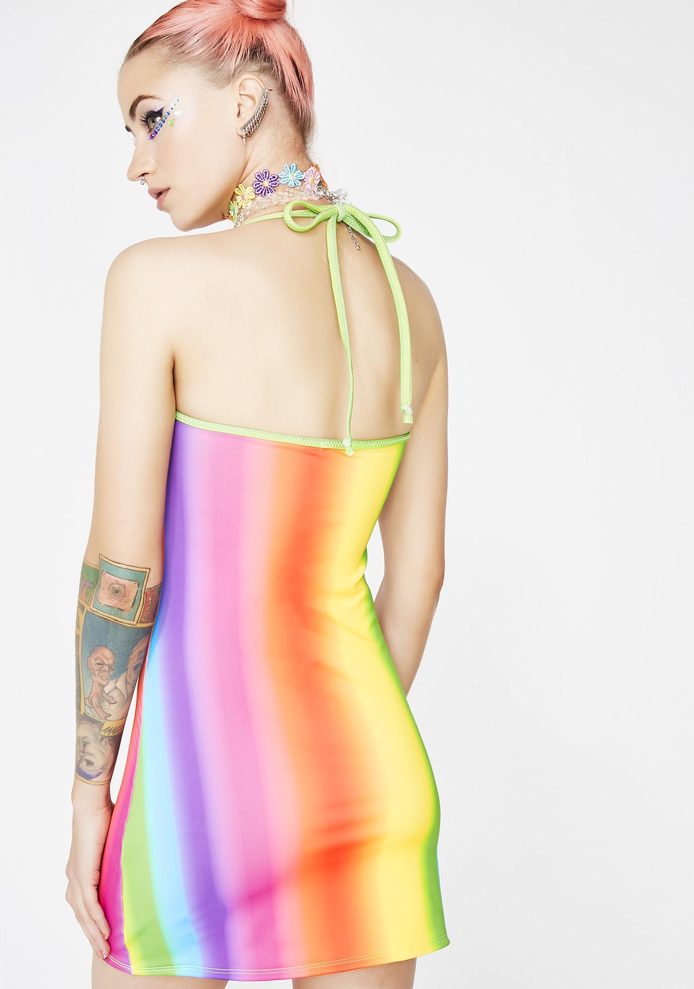 Rheabfunky Rainbow Gradient Matte Dress