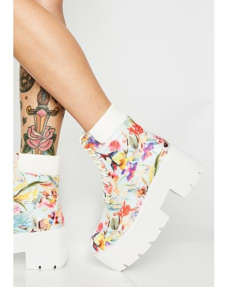 Floral Stacks On Stacks Platform Boots