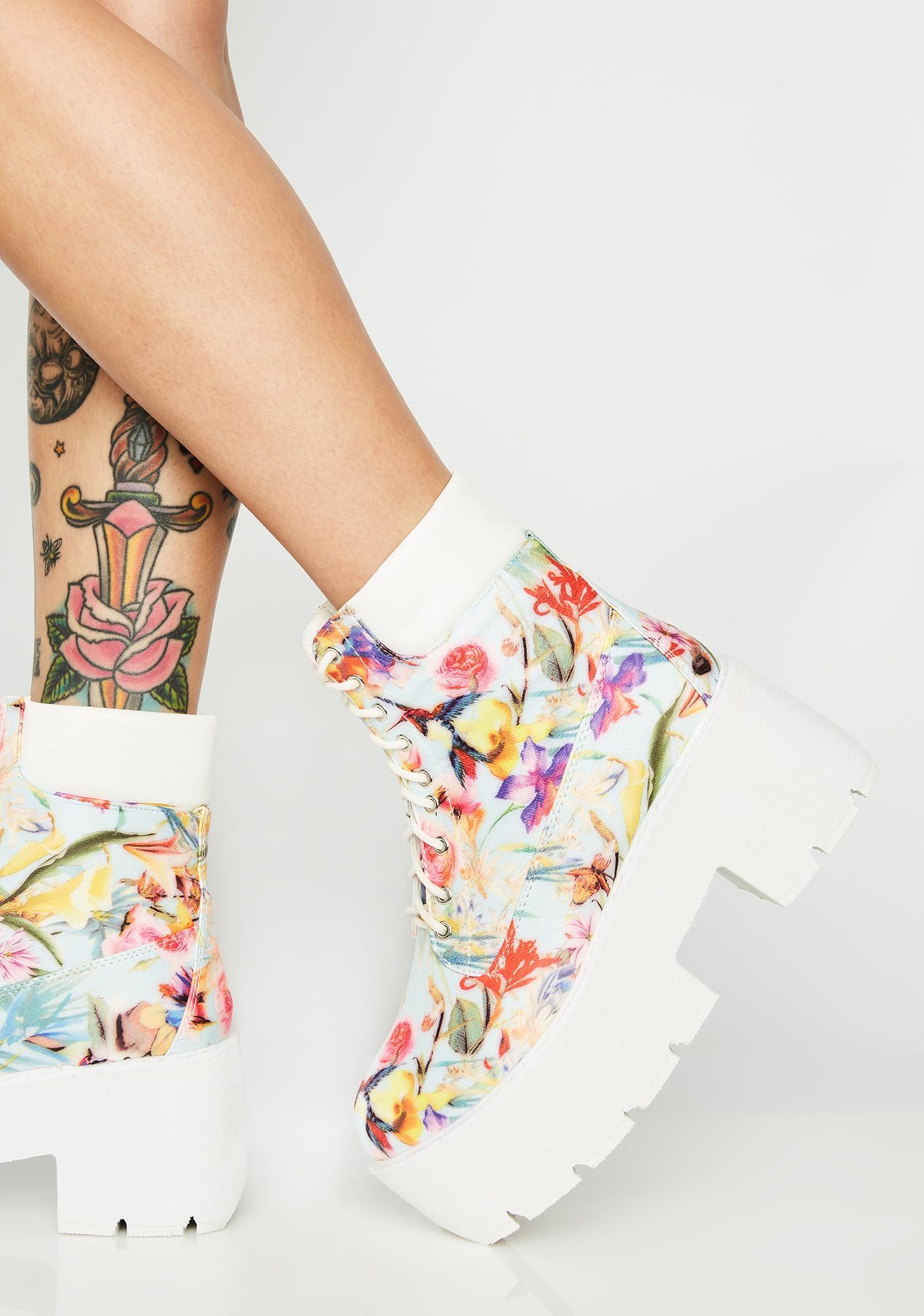 Floral Stacks On Stacks Platform Boots