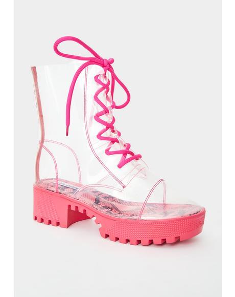 Pink Supernova Shock PVC Boots