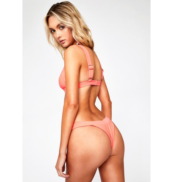Frankies Bikinis Coral Georgia Bikini Bottoms