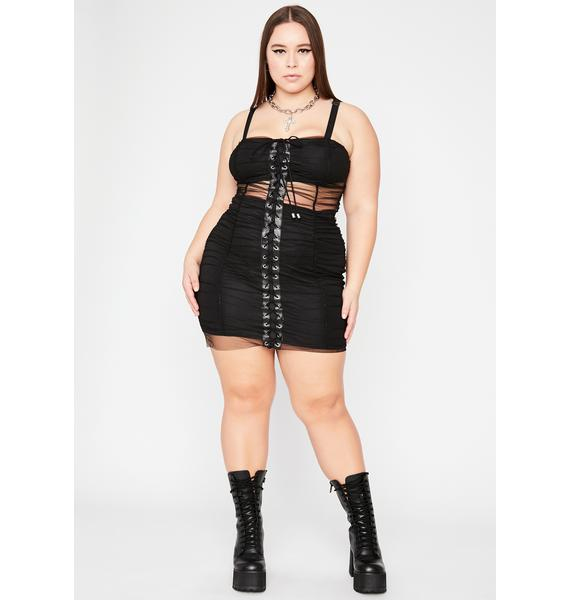She Can't Commit Lace Up Dress