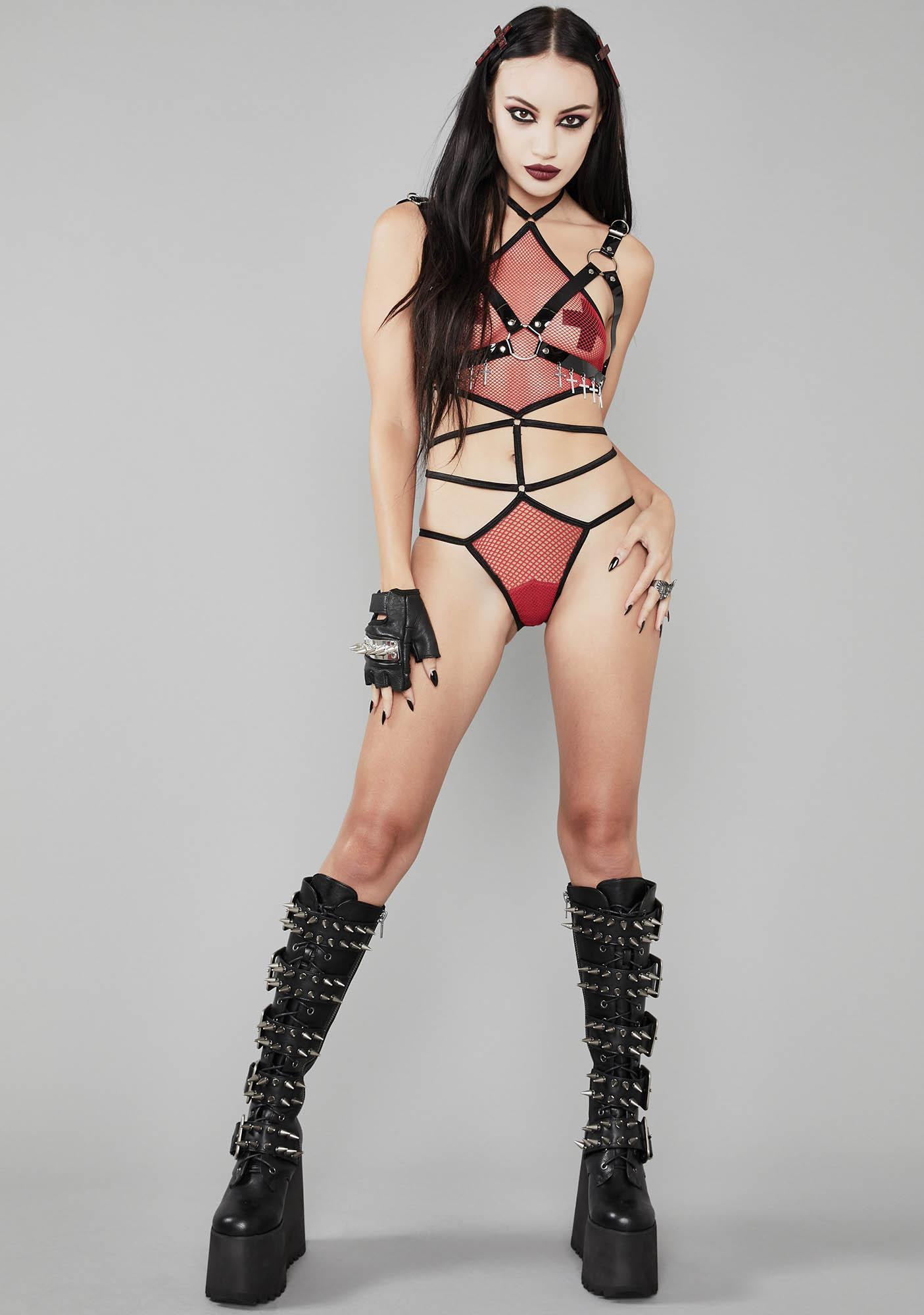 Widow Fire Lady Death Fishnet Bodysuit