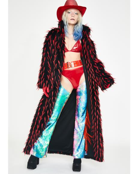 Red Tipped Faux Fur Coat
