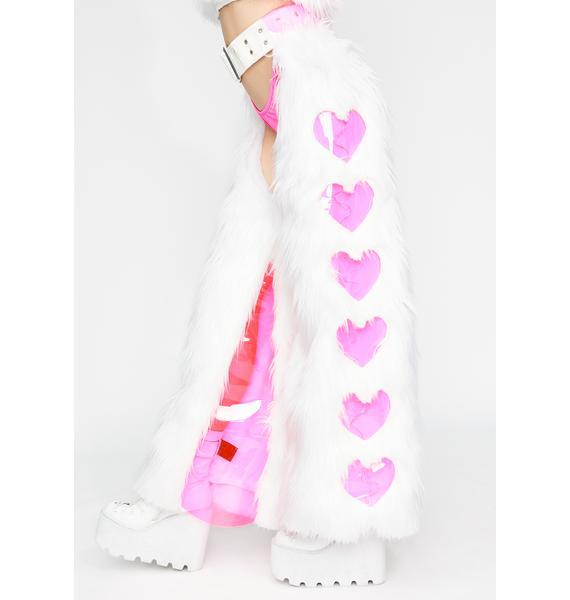 J Valentine Heart Window Light Up Faux Fur Chaps