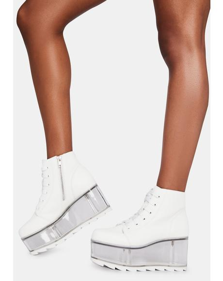 White Qloud Slayr Platform Boots