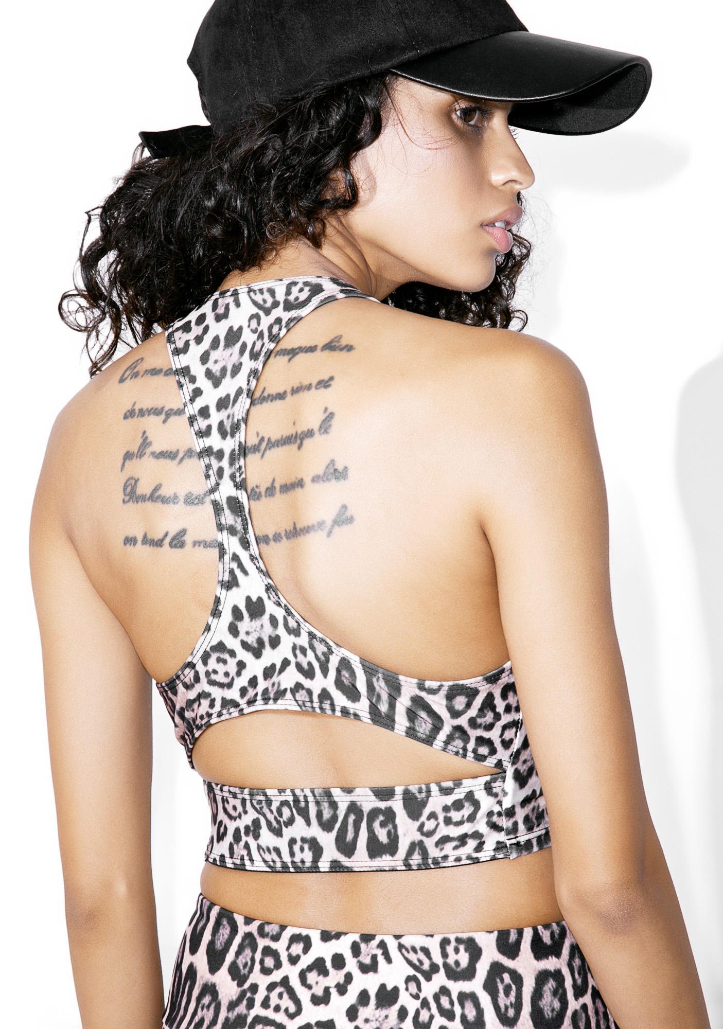 ONZIE Leopard Peek-A-Boo Racer Bra