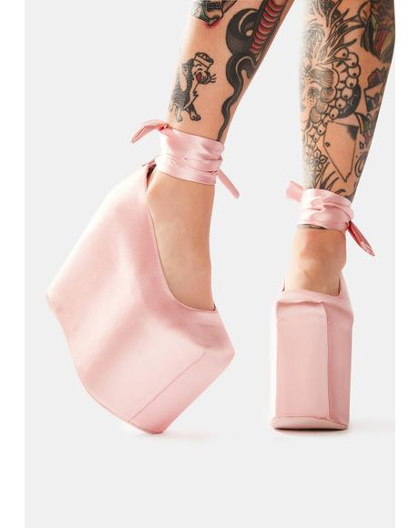 Bae Pink Satin Platforms