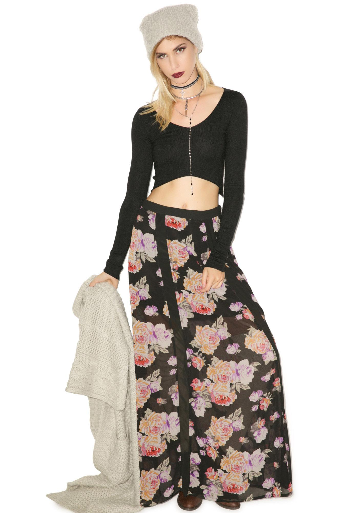 Mink Pink Light Floral Breeze Maxi Skirt