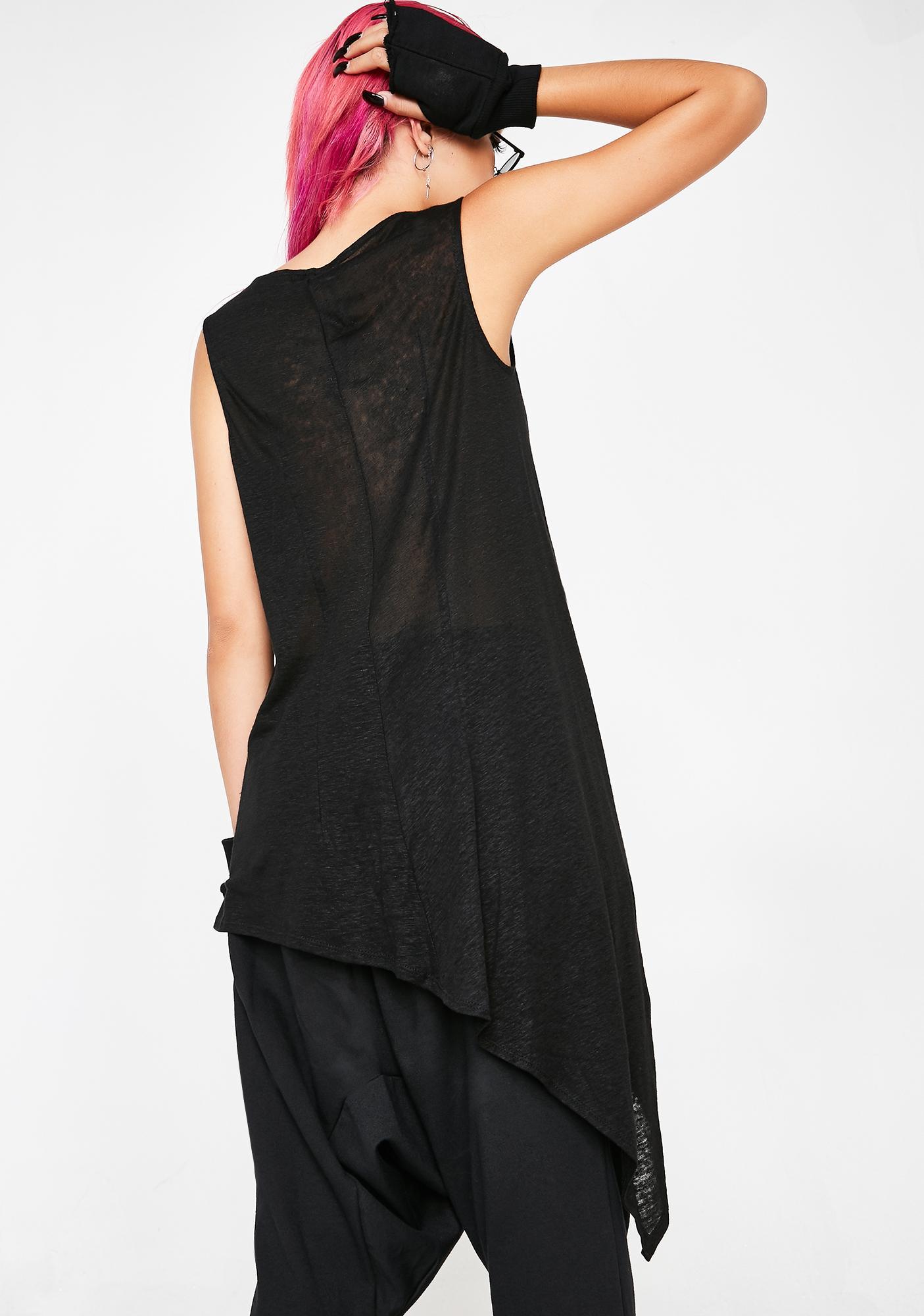 Matter of Black Asymmetric Linen Top