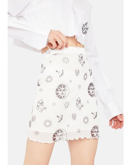 Sun and Stars Mesh Mini Skirt