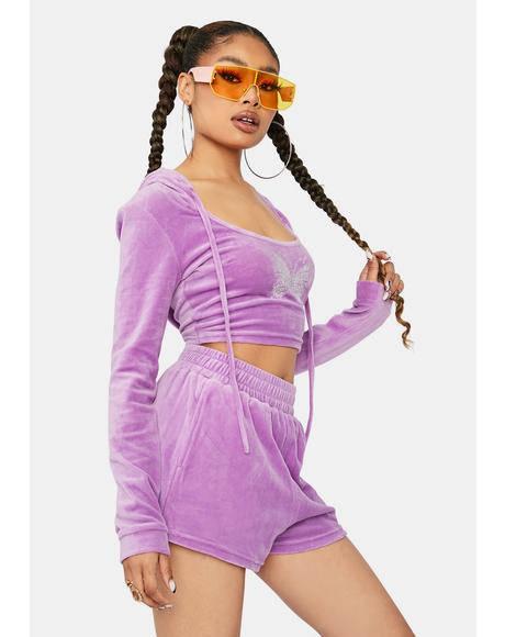 More Power To You Velour Shorts Set