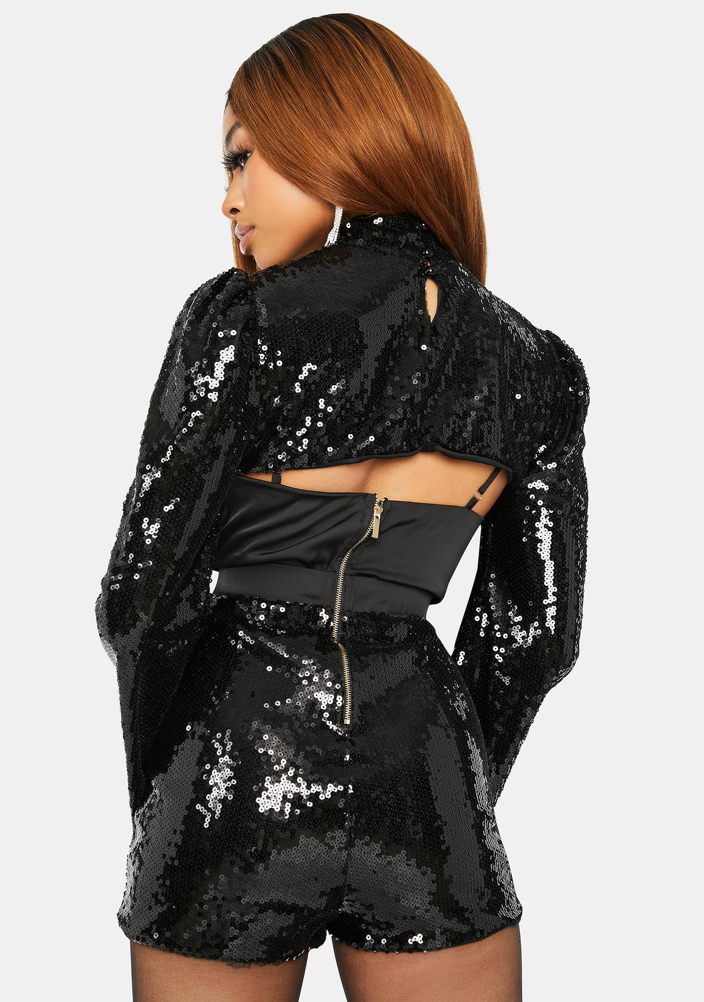 Night Dancer Sequin Mock Neck Hot Shorts Set