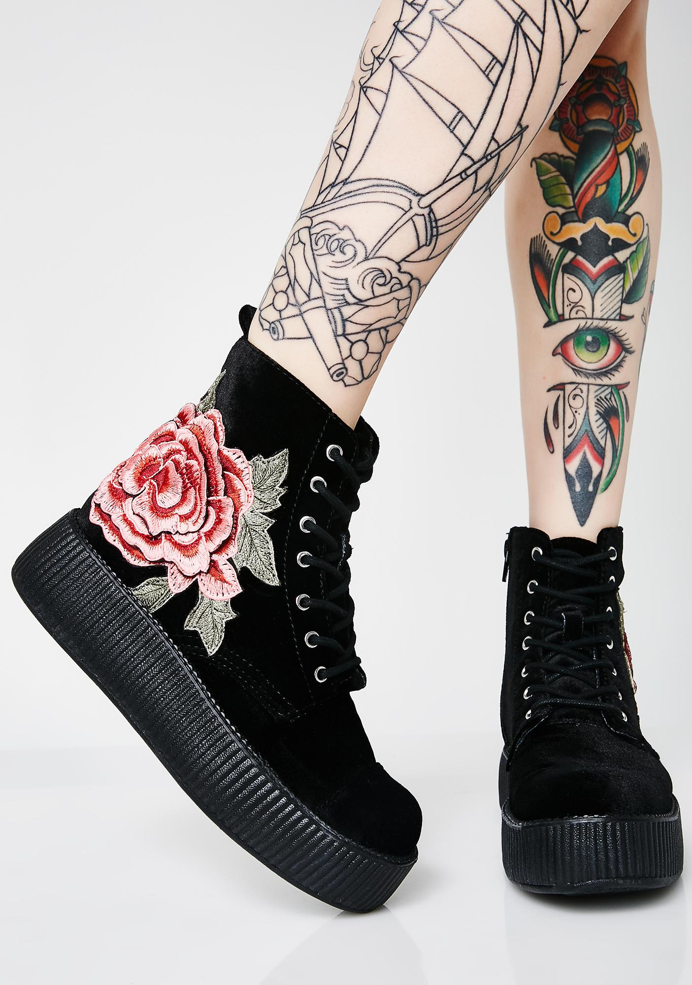 T.U.K. 3D Rose Embroidered Velvet Mondo Boots