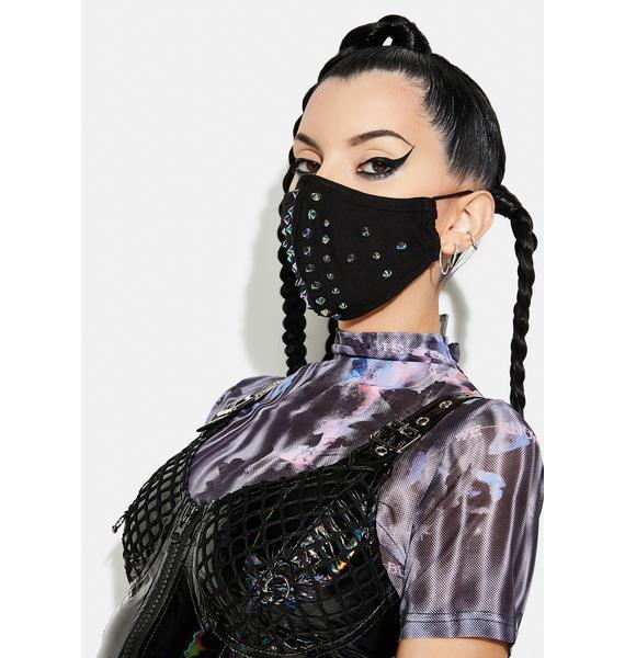 Punk Rave Blue Dazzle Rivet Face Mask