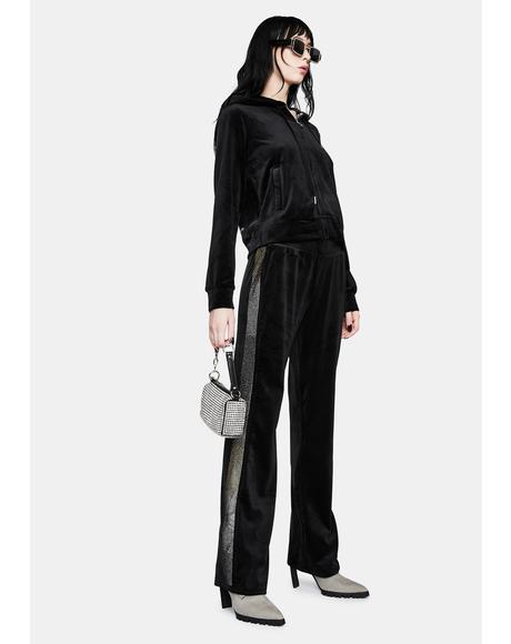 Black Luxe Velour Sweats
