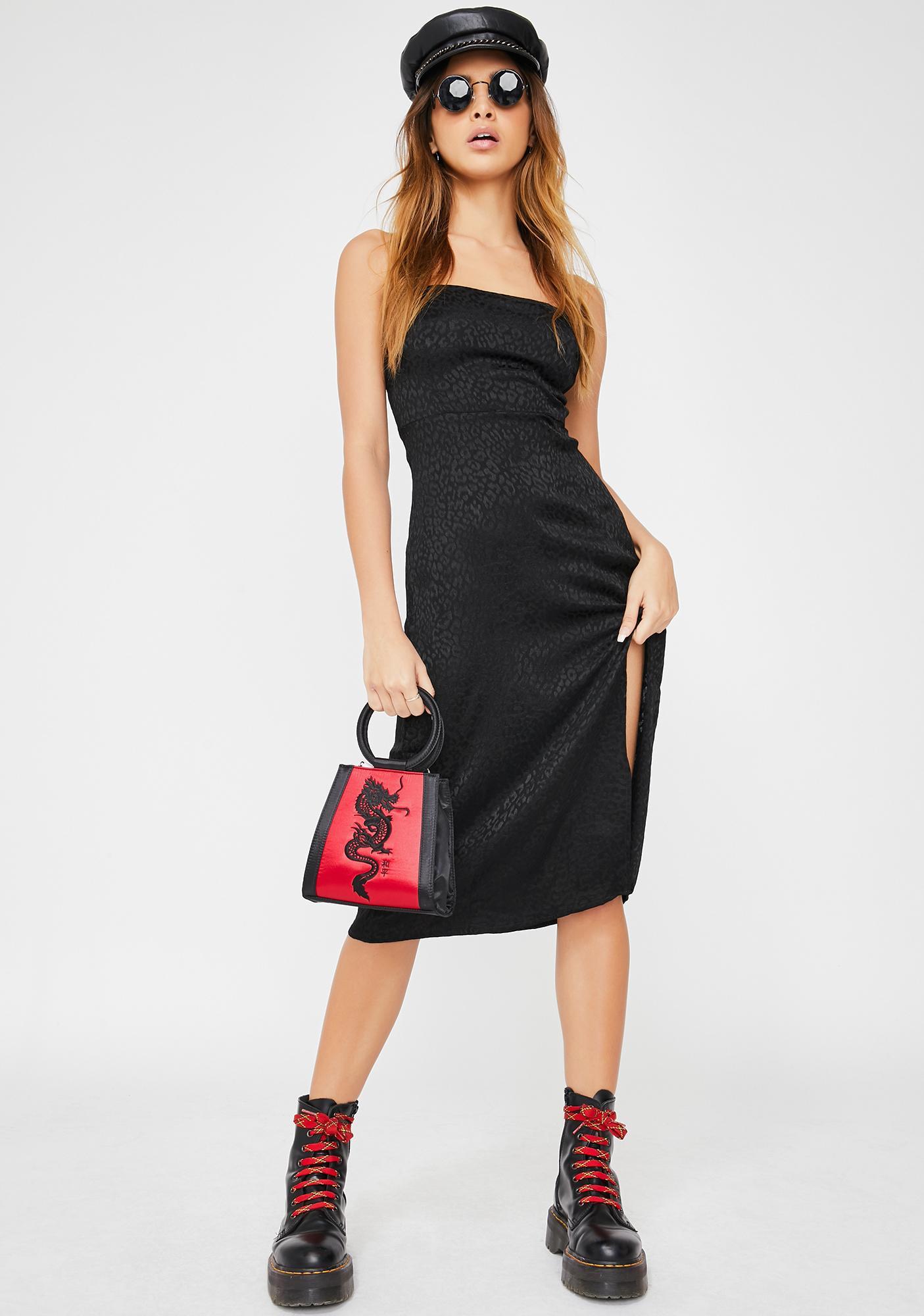 Motel Black Cheetah Kaoya Dress