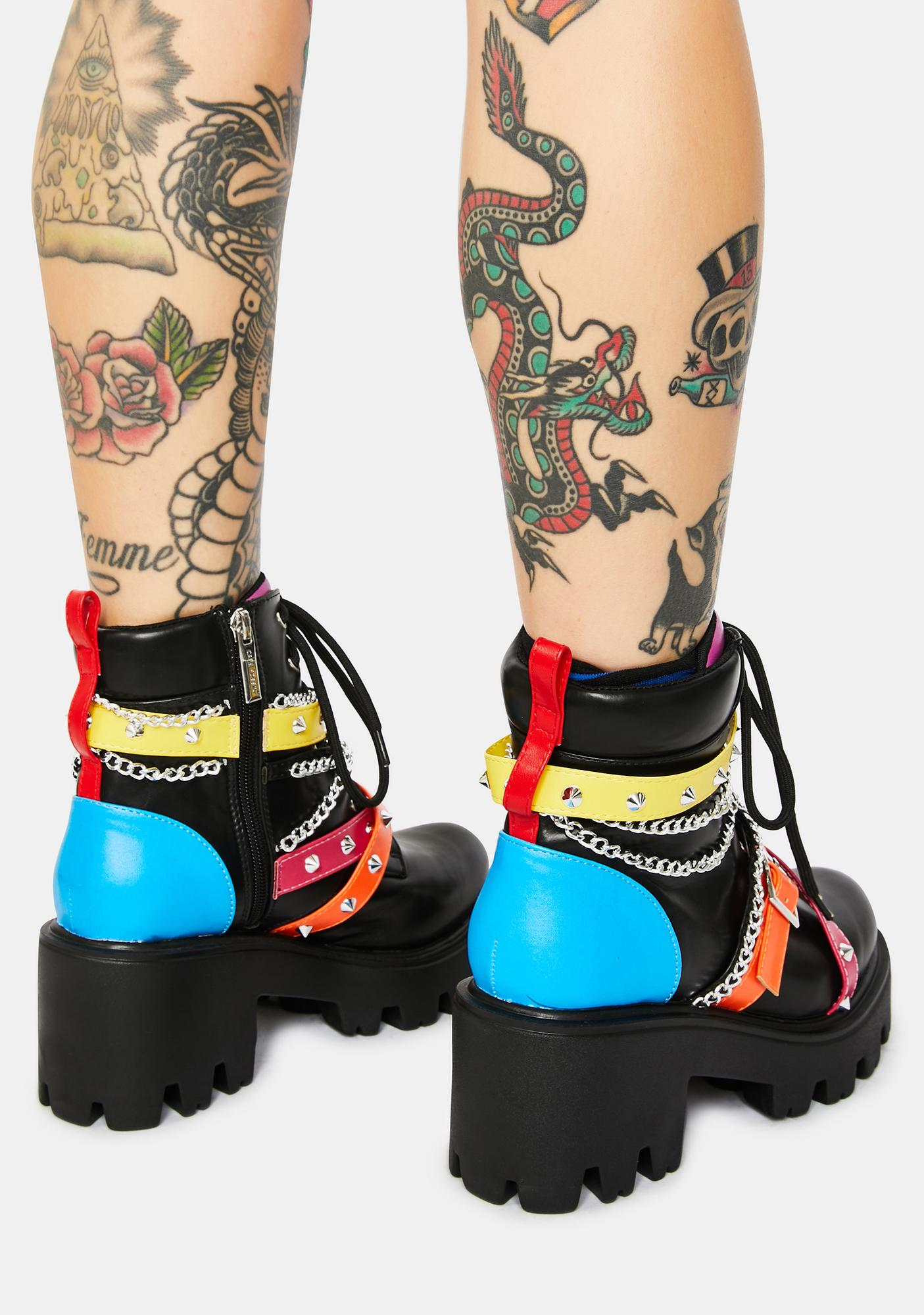 Rainbow Star Gazing Grunge Boots