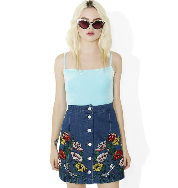 Among The Flowers Embroidered Skirt