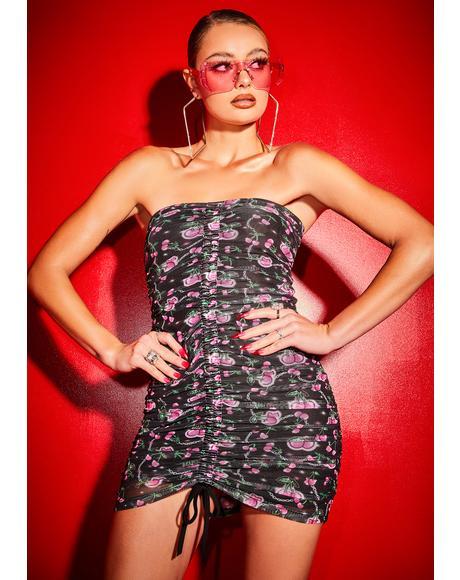 Choose Ur Cherry Strapless Halter Dress
