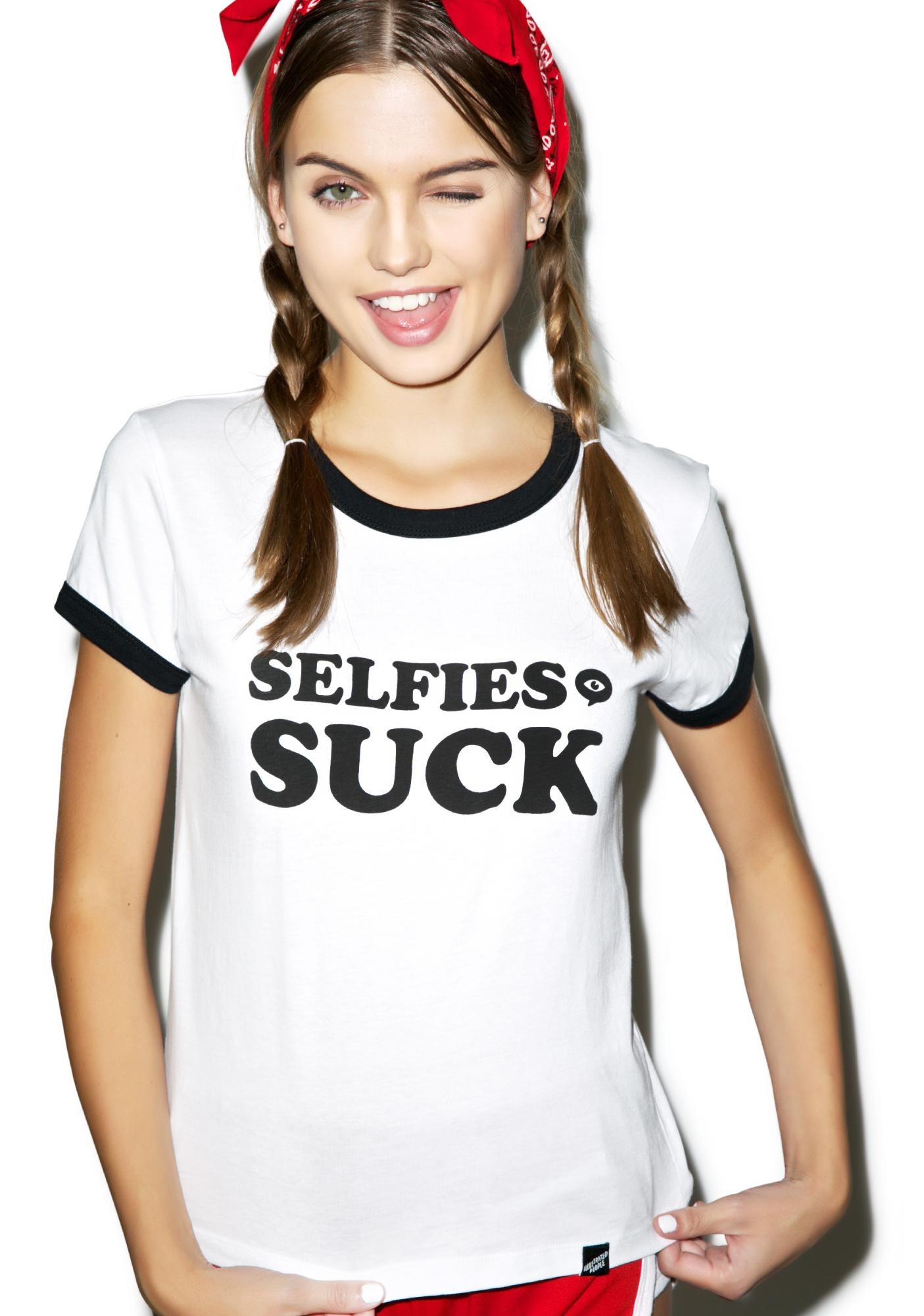 Illustrated People Selfies Suck Ailsa Tee