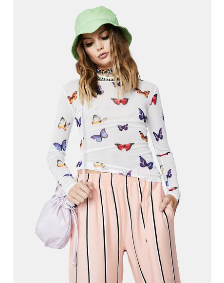 White Butterfly Print Mesh Top