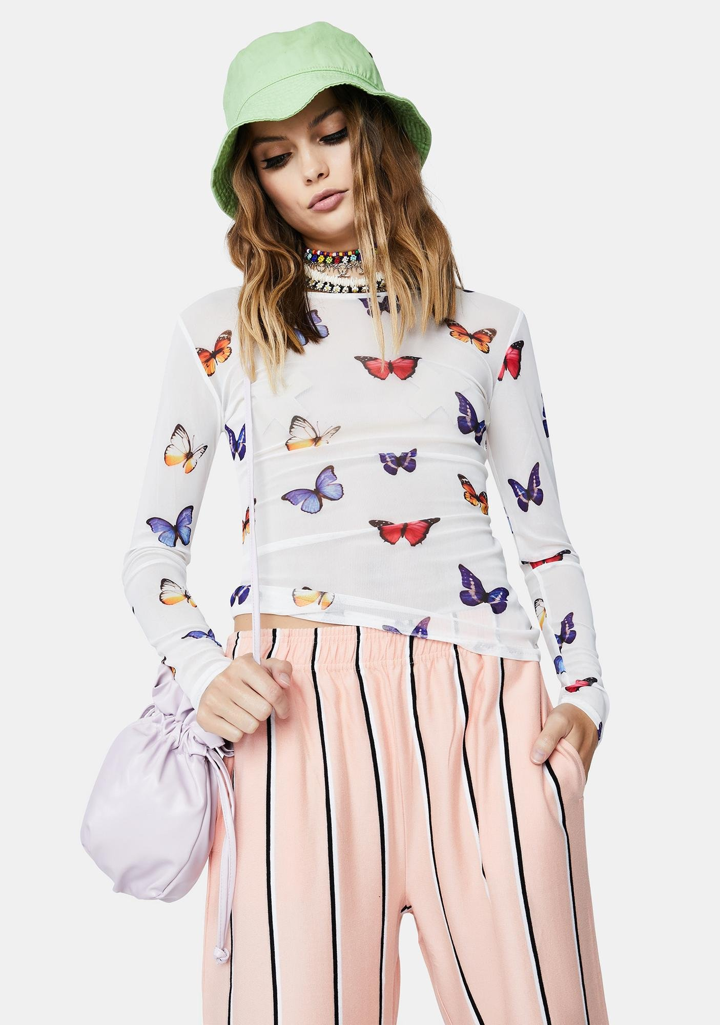 Daisy Street White Butterfly Print Mesh Top