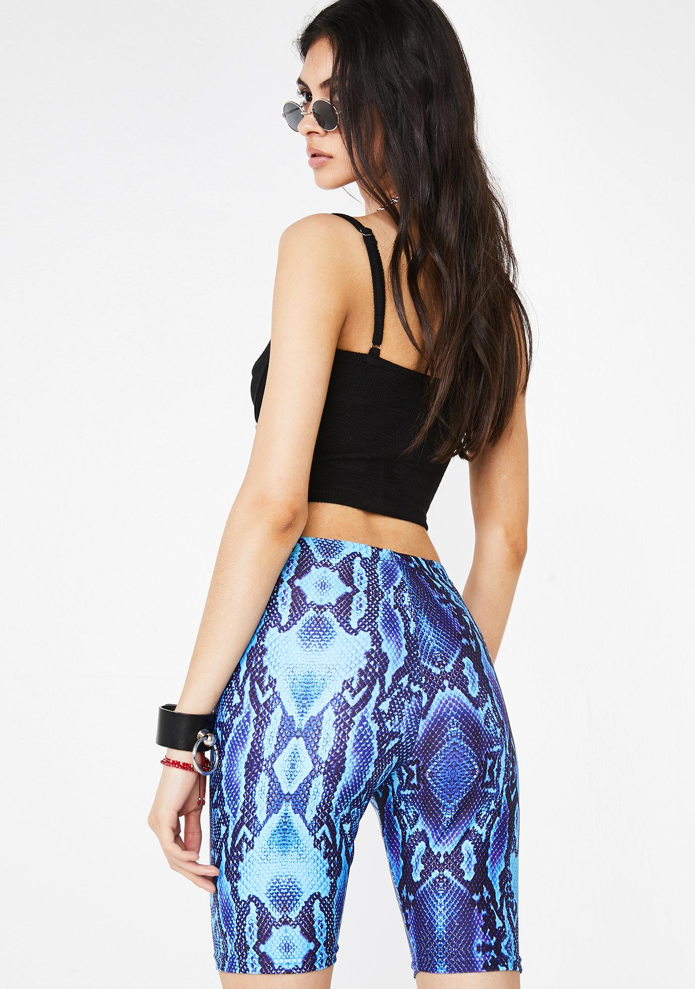 Get Crooked Blue Viper Biker Shorts