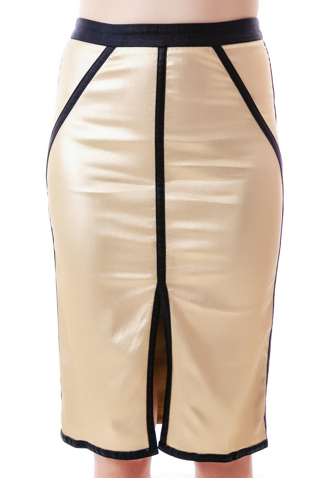 Shiny Night Slit Skirt