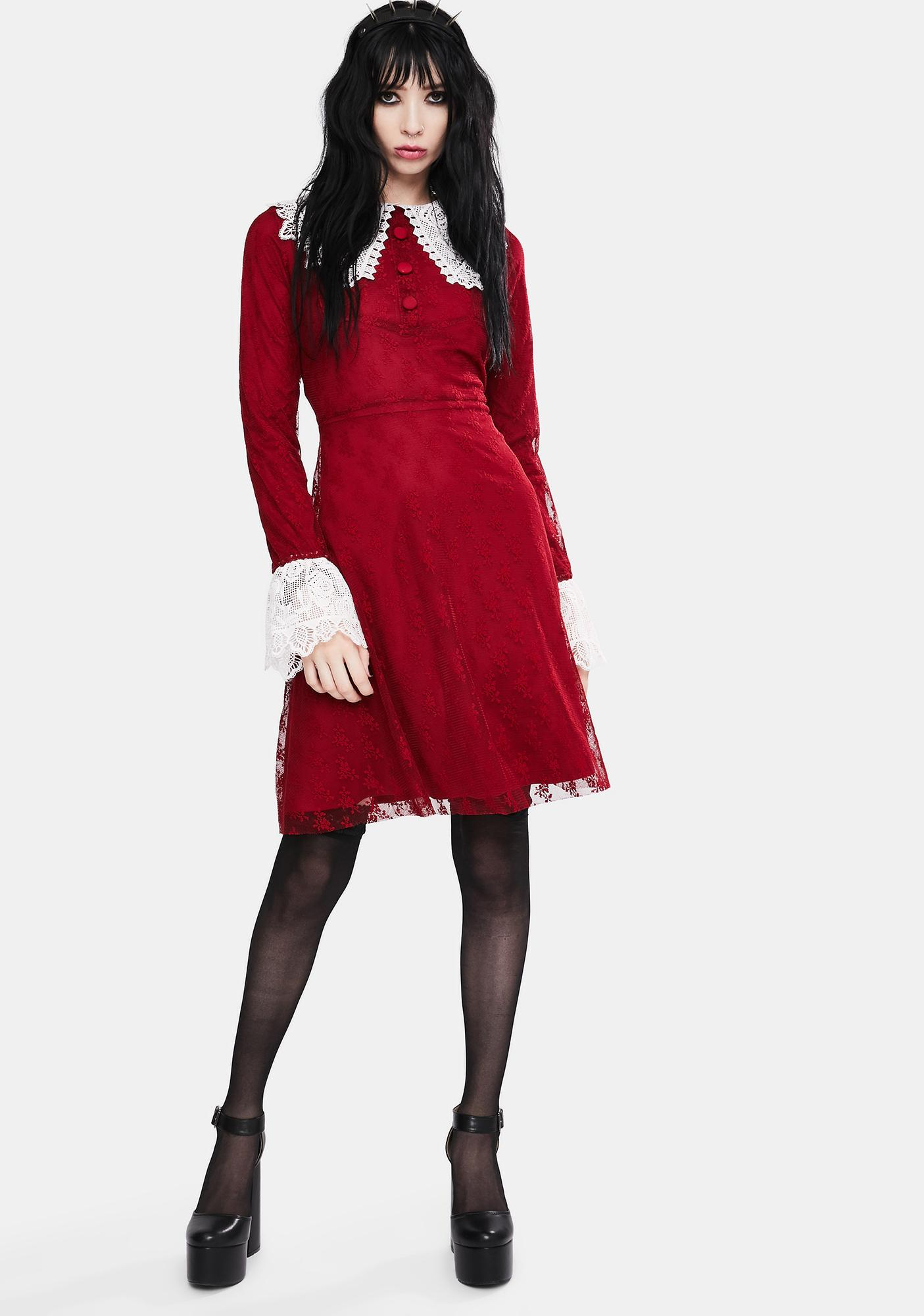 Jawbreaker Red Weird Sisters Lace Fit And Flare Dress
