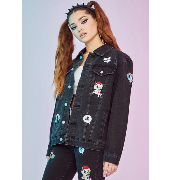 Dolls Kill x tokidoki Halfway To Heaven Patched Denim Jacket