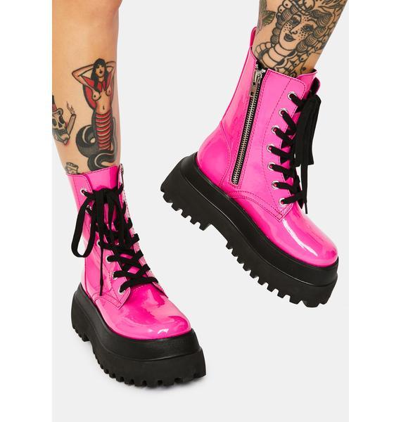 dELiA*s by Dolls Kill Bubblegum Wishes Patent Combat Boots