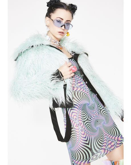 Minty Vibrant Chaos Fuzzy Jacket