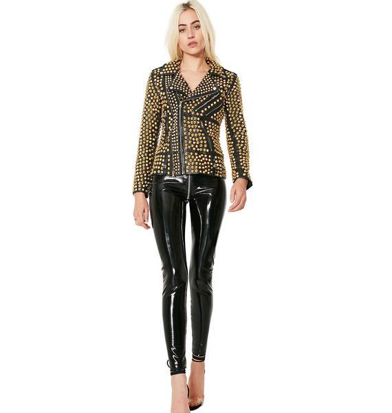 Hazmat Design Gilded Queen Of Metal Leather Jacket