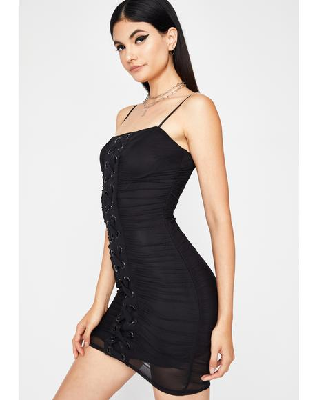 Diabolical Diva Lace Up Dress
