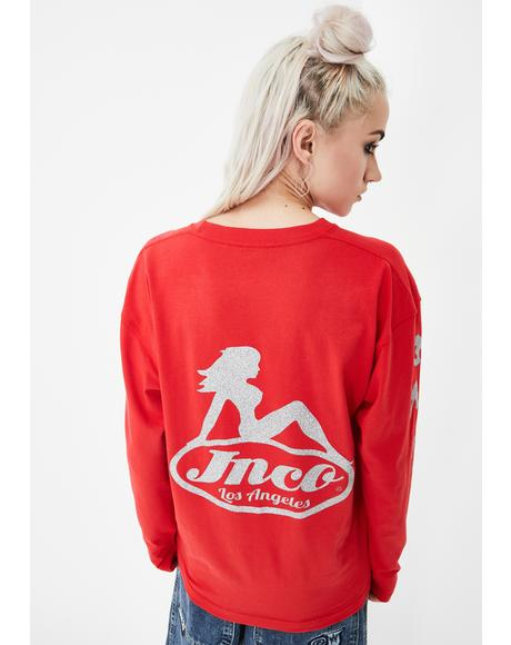 Red Big Rig Girl Long Sleeve Tee