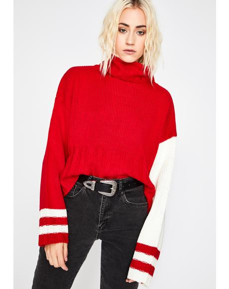 Red How Ya Feelin' Turtleneck Sweater