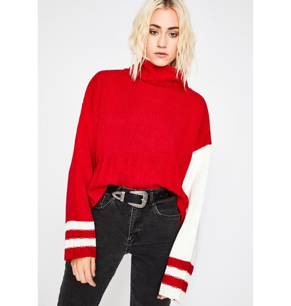 Red How Ya Feelin' Turtleneck Sweater