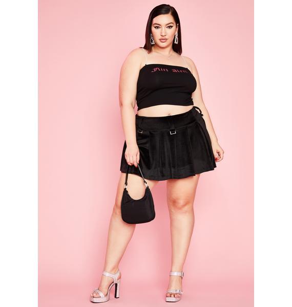 Sugar Thrillz Vital Elite Cabernet Velour Skirt