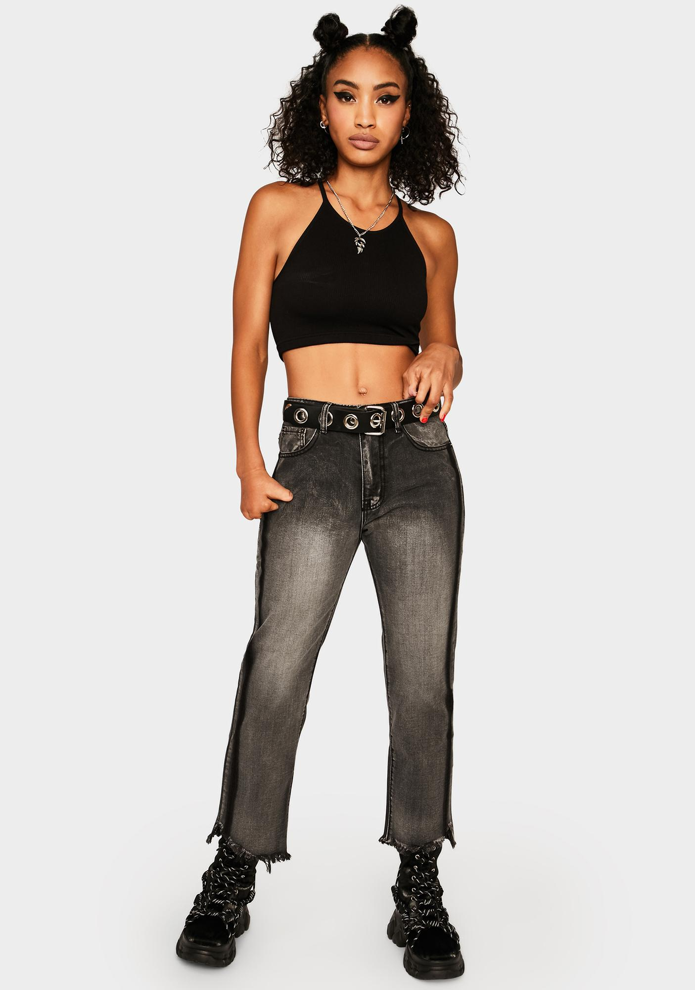 Momokrom Black Distressed Cropped Flare Jeans
