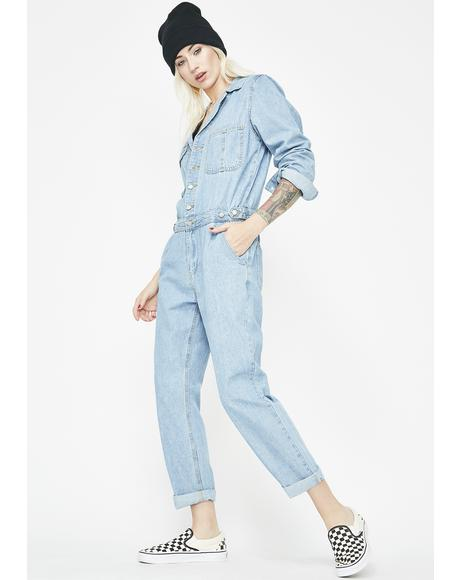 Gotcha Back Denim Jumpsuit
