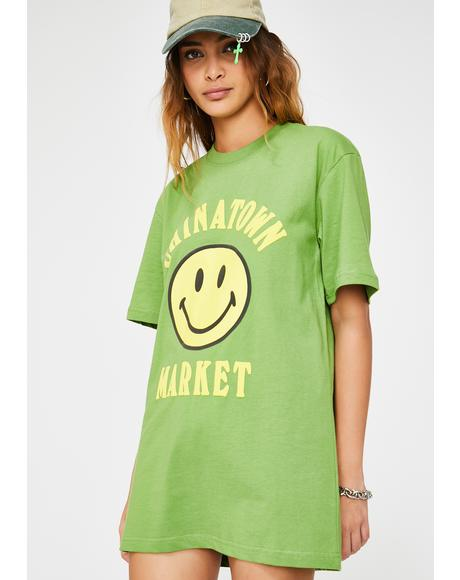 Olive Smiley Graphic Tee