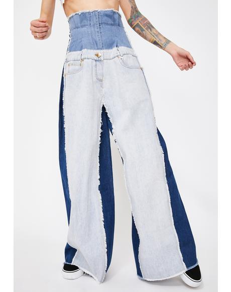 Denim Patchwork Corset Jeans