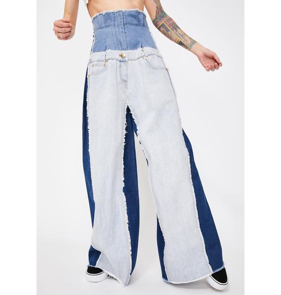 Alzang Denim Patchwork Corset Jeans