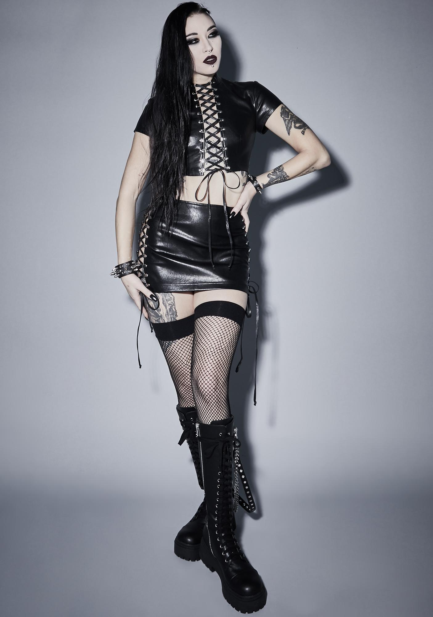 Widow Root Of Evil Lace Up Top