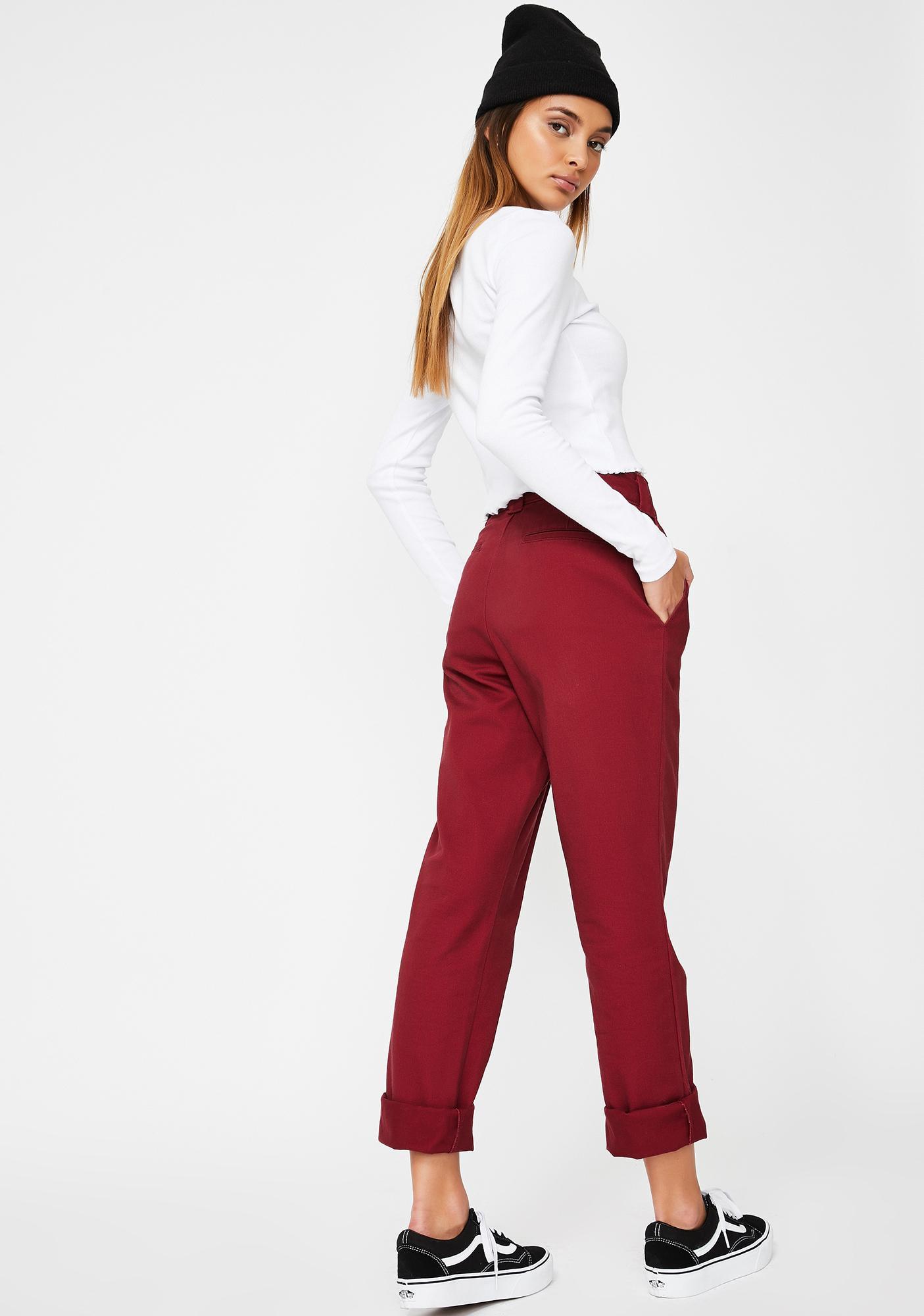 Dickies Girl Burgundy Original Twill Worker Pants