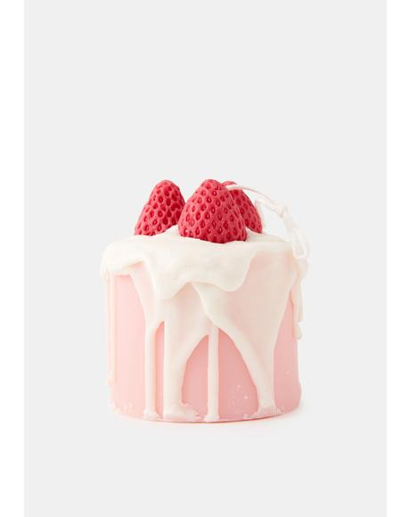 Strawberry Cake Day Candle